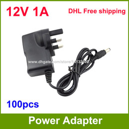 Wholesale Ac Adaptor Camera - 100pcs AC DC Adapter 12V 1A UK Power Supply Adaptor For CCTV Cameras   Led Strip Light DHL Free shipping
