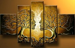 Wholesale Modern Oil Painting Trees - handpainted wall art home decoration tree of life pictures modern abstract 5 piece oil painting on canvas for living room F 023