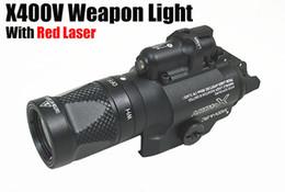Wholesale cnc led light - Tactical CNC Making SF X400V LED Pistol Rifle Gun Light With Red Laser Black