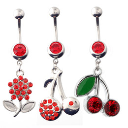 Wholesale Sexy Girl Navel - Fashion Belly Button Rings Crystal Red Cherry Flower Stainless Steel Sexy Piercing Navel Rings Body Piercing Jewelry 10PCS