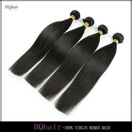Wholesale Malaysian 5a Straight Hair - 4Pcs Malaysian Human Hair Bundles Silky Straight Virgin Human Hair Extensions Natural Color 5A Malaysian Hair Weaves HQhair