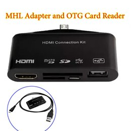 Wholesale Micro Sd Card Connector - 100pcs lot Micro USB OTG SD TF Card Reader Writer HUB MHL To HDMI HDTV TV Adapter HDMI Connector Kit For Samsung Note 2 3 S4