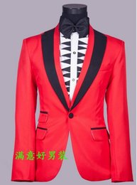 Wholesale Men S Marriage Suits - Wholesale-Red singers fashion wedding formal dress men's clothing marriage suits blazers mens suit set costume man jackets + trousers