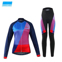Wholesale Women Bike Suit - Women long-Sleeved Cycling Suits Autumn Mountain Bike Bicycle Jersey Padded Pants Long Sleeve Bicycle Wear Clothing Cycling Jersey Sets
