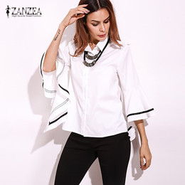 Wholesale Women Button Down Shirt White - 2017 ZANZEA Autumn Lapel Neck Buttons Down Striped Patchwork Flouncing Sleeve Blouse Elegant Women Shirt Loose Fashion Tops