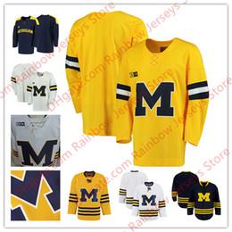 Argentina Hombres Juventud Michigan Wolverines En blanco Liso Grandes 10 camisetas de hockey universitario 2017 Nuevo Amarillo Azul marino Azul Oro S-4XL Suministro