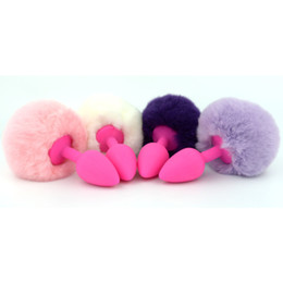 Wholesale Anal Spreader - Silicone Anal Plug with Ball Fur Tail Silica Anus Spreader Enlarger Silica Gel Butt Beads Pink Purple White BDSM Gear Sex Toy