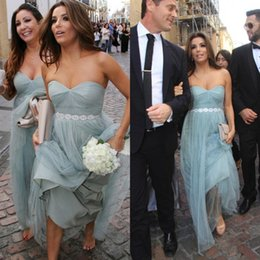 Wholesale Inexpensive Bridesmaids Dresses Custom - 2016 Inexpensive Evening Dress Dusky Light Blue Tulle Bridesmaid Dresses Long Sweetheart Strapless Formal Gown with Beaded Belt Custom