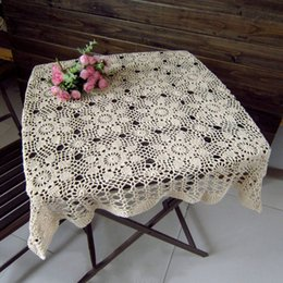 Wholesale Cotton Square Crochet Tablecloth - Wholesale Hand-crocheted Retro Square Table Cloth Hollow Weave Tea Table Cloth Home Decor Tablecloths JM0113