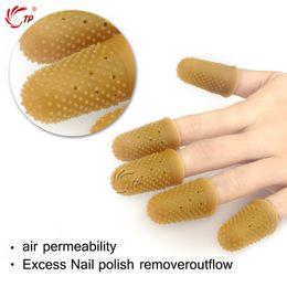 Wholesale Rubber Finger Cots - Wholesale- 12pcs box Nail Art Nail Remover Wraps Latex Rubber Finger Cots Protector Gloves Nail Art Tools