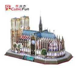 Wholesale Led 3d Puzzles - Wholesale-Cubic Fun LED DIY handmade 3D Puzzle Paper Model Building Kits Papercraft Double decker Bus Eiffel tower Titanic Tower Bridge