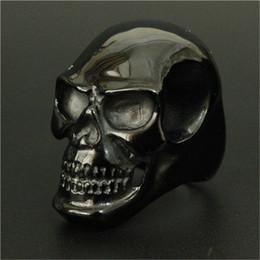 Wholesale Black Skull Rings - Size 8-15 Punk Huge Polishing Skull Ring 316L Stainless Steel Cool Fashion Men Black Biker Skull Ring