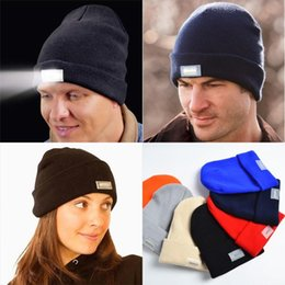 Wholesale Wholesale Hunting Winter Hat - 2017 Winter Warm Beanies Hat LED Light Sports Beanie Cap Angling Hunting Camping Running Hats Unisex Beanies Cap 500pcs