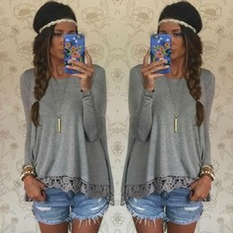 Wholesale Long Sleeved T Shirts Ladies - women t shirt spring autumn 2015 cotton fashion long-sleeved T-shirt bottoming loose lace stitching lady tees shirt femme tops