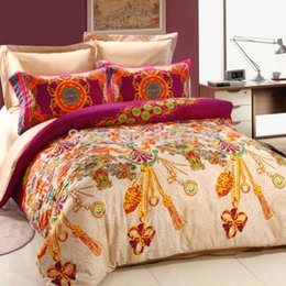 Wholesale Luxury Red Comforters - Luxury bedding sets 4pcs duvet quilt bed covers gold red printed 100%cotton bedlinen bedsheets comforters bedcovers bedlinens