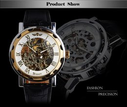 Wholesale Cool Skeleton Watches - Best Gift!!2015 Greek Numerals Dial Watches Cool Men Retro Hollow Mechanical Watch Leather Vintage Skeleton Wheel Gear Totem Watch free ship
