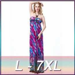 Wholesale Neck Hanged Females - New Summer Neck Hanging Pendant Sexy Dresses Printing Floor-length Bohemian Long Dress Female Vacation Beach One Piece Dress 7XL 6XL