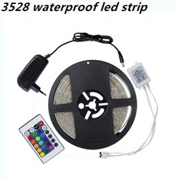 Wholesale Remote Power Ip - Wholesale-Kitop 3528 IP 65 waterproof led strip DC 12v 60led m LED Flexible Light Strip +remote controller + power adapter