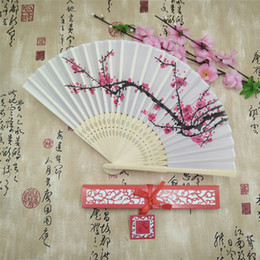 Wholesale Paper Folding House - Cherry Blossom Silk Bamboo Craft Fan Wedding Favor Plum Blossom Hand Folding Fan Wintersweet Bamboo Fans+Paper Gift Box+DHL Free Shipping