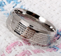 Wholesale Spanish Rings - Stainless Steel Etched Spanish Lord's Prayer Cross Wedding Silver Men's Women's Band Ring Size 6-14 New
