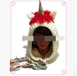 Wholesale rainbow knitted hat - Fashion Anime Cartoon Rainbow Unicorn Beanies Hat Adults Autumn Winter Warm Knitted Caps for Adult Christmas Party Hats CCA8120 10pcs