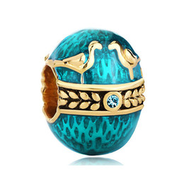 Wholesale Faberge Egg Plate - wholesale and retail Factory Metal Jewelry Enamel TWO BIRDS Faberge Egg charm Russion Egg Beads Fits for Bracelets