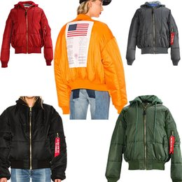 Wholesale American Bomber - Vetements MA1 Flight Jackets Reversible American Flag Mens Oversize Windbreaker MA-1 Bomber Thick Hooded Jacket 2017 Winter windproof Coats