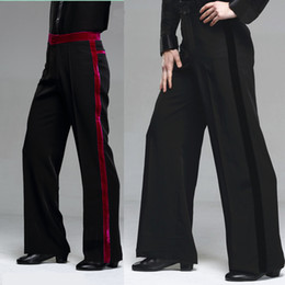 Wholesale Black Ballroom - 2015 New Men Latin Dance Pants Velvet Mens Ballroom Dance Pants Black Red Rumba Samba Tango Cha Cha Jazz Dancewear DQ6049