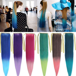 Wholesale 65cm Hair - 26inch long synthetic Womens Straight Ombre Mix Colors 65cm Hair Extension Ponytail Girls Hairpiece Pony tail free shipping PT39