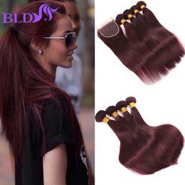 Wholesale 99j Human Hair Extensions - 8A Peruvian Straight Human Hair Bundles With Closure 99j Straight Human Hair 4 Bundles With Closure Red Wine Human Hair Extensions