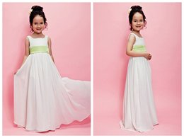 Wholesale Girls Chiffon Pageant Gowns - 2017 A-line Chiffon Flower Girl Dresses Square Neckline Floor Length Toddler Long Pageant Dresses Cheap Kids Prom Gowns