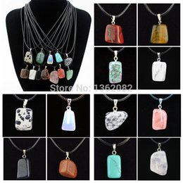 Wholesale Men Jewelry Leather Necklace - Jewelry Wholesale 12pcs lot Fashion Men Women's Crazy Irregular Natural Stone Charms Pendants Necklace Gift MN446