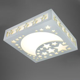 Wholesale Lighted Star Ceiling Kids - Creative Moon Star Kids Room Ceiling Lamp Acrylic Hollow Baby Room Ceiling Lamps LED Bedroom Ceiling Lights