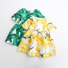 Canada Robes de feuille de bananier pour filles tissées jacquard de style européen et américain demi robe imprimée à manches pour filles 2-7 cheap european style girls dresses Offre