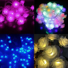 Wholesale Lotus Outdoor Lighting - Wholesale- Newest Remote Battery Operated Lotus String Lights 2m 20 LED Flower Fairy Light String for Indoor and Outdoor