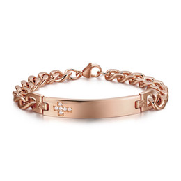 id link chain bracelet Promo Codes - Hot Romantic Jewelry Rose Gold Stainless Steel New Design Style Cross zircon Crystal Link Chain 10MM ID Bracelet 210MM Length