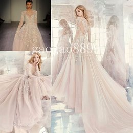 Wholesale Long Embroidered Dress Feathers - Hayley Paige Fall 2016 Embroidered Organza Wedding Dresses Amethyst Long Sleeve Rococo Luxury Beaded Embroidery Cheap Bridal Gown