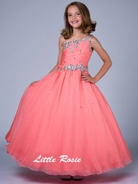 Wholesale Orange Chiffon Gown - 2016 New Custom Made Girls' Pageant Dresses Ball Gown One-shoulder Floor-length Chiffon Dance Birthday Kids Party Flower Dresses