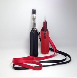 Wholesale Ego Neck Case - High quality ego lanyard necklace string with PU leather carrying pouch pocket nylon neck sling rope round corner case bag for ecig battery