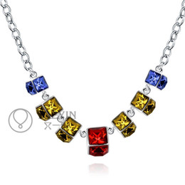 Wholesale Brass Beaded Rhinestone Necklace - New 925 Silver Chain Necklace Multi Colors Rhinestone Pendant Necklace Resin Crystal Charm Necklace fit 18inch O Chain for Women N760