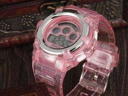 Wholesale Cute Rubber Watches - Hot Sale OHSEN Fashion Cute Pink Digital Girls Kids Wristwatch Rubber band 3ATM Waterproof Girls Children 7 Colors LCD Watches Gift Relogio