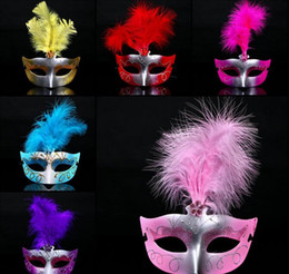 Wholesale Paint Products - Venice mask products Feather Mask Halloween mask painting beauty with a feather floating hair mask mixed hair color JIA497