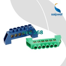 Wholesale Terminal Block Connector Green - 20pcs lot,250V-450V Brass Screws Terminal 6*9mm Specification,6 Ways Green Blue Electric Terminal Blocks Connector SP-001 6 6*9