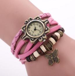 Relojes de pulsera de pulsera antiguos online-Reloj de pulsera de cuero antiguo reloj de pulsera de mariposa