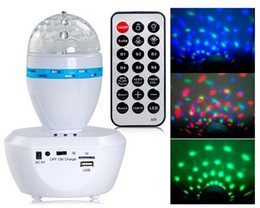 Wholesale Party Jumps - LED Music Crystal Magic Ball Light Rotating RGB LED Stage Light For Party Disco Nightclub with Remote Controller For Home Entertainment