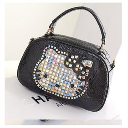 b25c97e70860 Diamond Women Bag hello kitty Leather Handbags Women Messenger Bags Female  rivet Clutches Crossbody Shoulder Bag Tote sac a main