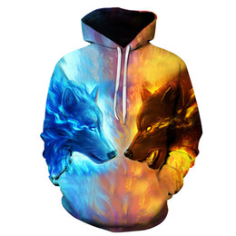 Wholesale Wolf Print Hoodies - Plus Size Printing Loose Men's Hooded Autumn and Winter New Casual 3D Wolf Printed 5XL 6XL Men's Cotton Hoodies