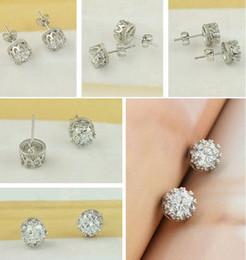 Wholesale Real Silver Earings - Korean Crystal Crown Wedding Stud Earrings Real 925 Sterling Silver Rhodium Plated Earings Anti Allergy Jewellery for Engagement