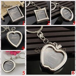 Wholesale Couple Lover Hearts - 50pcs CCA2820 New Arrival Creative 6 Designs Couple Heart Round Square Shape Photo Frame Key Chain Photo Keychains Zinc Alloy Key Ring