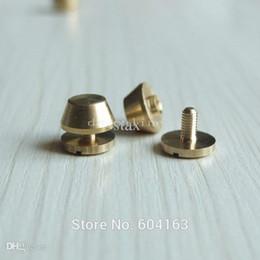 Wholesale Brass Spots - 25 sets Screwback Feet 12mm x 8.5mm Screw Head Purse Handbag NAILHEADS Stud Spike Spot Brass